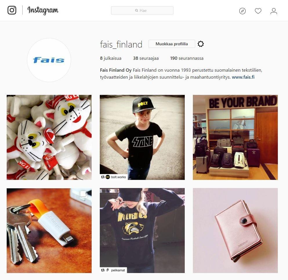 Fais Finland löytyy nyt myös Instagramista!